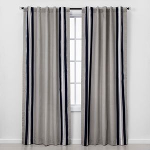 NEW Pillowfort Gray Blackout Stripe Curtain Panel